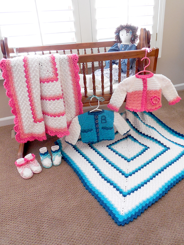 Sweet Shells Baby Afghan & Sweater Set